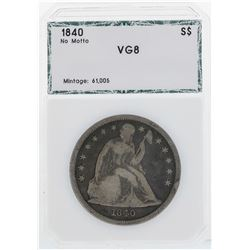 1840 NM $1 Seated Liberty Silver Dollar Coin PCI VG8