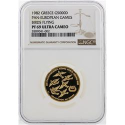1982 Greece 5000D Pan European Games Gold Coin NGC PF69 Ultra Cameo