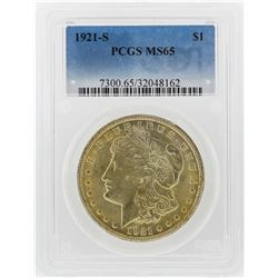 1921-S $1 Morgan Silver Dollar Coin PCGS Graded MS65
