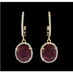 14KT Yellow Gold 9.67ctw Ruby and Diamond Earrings