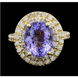 14KT Yellow Gold 4.09ct Tanzanite and Diamond Ring