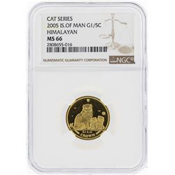 2005 Isle of Man 1/5 Crown Himalayan Gold Coin NGC MS66