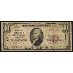 1929 $10 Hamburg New Jersey National Currency Bank Note