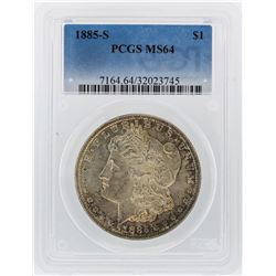 1885-S $1 Morgan Silver Dollar Coin PCGS Graded MS64