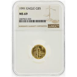1991 $5 American Gold Eagle Coin NGC Graded MS69