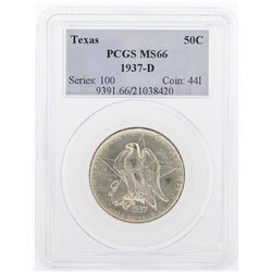 1937-D Texas Commemorative Half Dollar Coin PCGS MS66