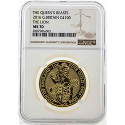 2016 Great Britain 100 Pounds The Queens Beasts Gold Coin NGC MS70
