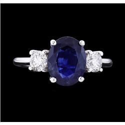 14KT White Gold 2.47ct Blue Sapphire and Diamond Ring