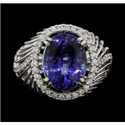 18KT White Gold 8.01ct Tanzanite and Diamond Ring