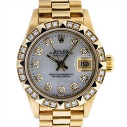 Rolex Ladies President 18K Yellow Gold 0.50ctw Diamond Datejust Wristwatch