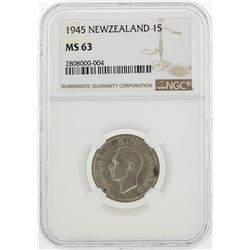 1945 New Zealand 1 Shilling Coin NGC MS63