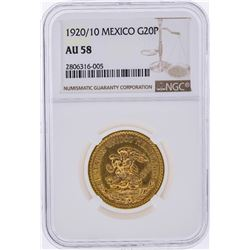 1920/10 20 Pesos Mexico Gold Coin NGC Graded AU58