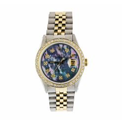 Mens Two Tone Rolex Datejust Wristwatch with MOP Diamond Dial and Bezel