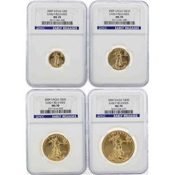Set of $5/$10/$25/$50 2009 American Gold Eagle Coins NGC MS70