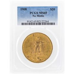 1908 NM $20 St. Gaudens Double Eagle Gold Coin PCGS MS65
