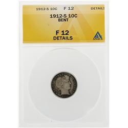 1912-S Barber Dime Coin Bent ANACS F12 Details