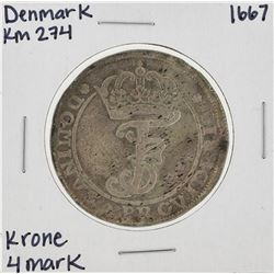 1667 KM274 Denmark Krone 4 Mark Coin