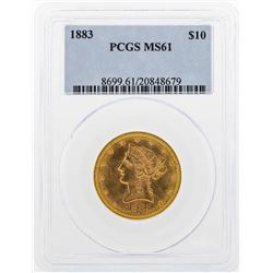 1883 $10 Liberty Head Eagle Gold Coin PCGS MS61