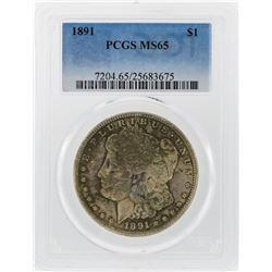 1891 $1 Morgan Silver Dollar Coin PCGS Graded MS65