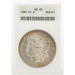 1881-CC $1 Morgan Silver Dollar Coin ANACS MS63