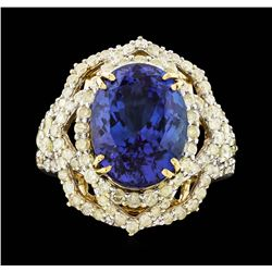 14KT Yellow Gold 7.23ct Tanzanite and Diamond Ring