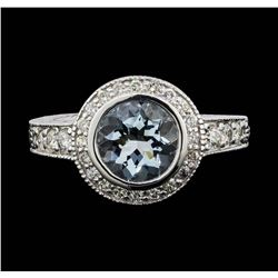 14KT White Gold 2.00ct Aquamarine and Diamond Ring