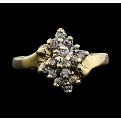 14KT Yellow Gold 0.25ctw Diamond Cluster Ring
