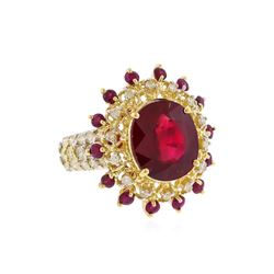 14KT Yellow Gold 10.05ctw Ruby and Diamond Ring