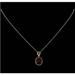 14KT Two Tone Gold 6.51ctw Ruby and Diamond Pendant with Chain