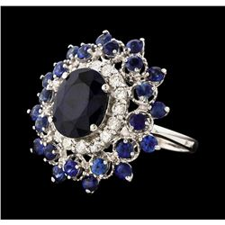 14KT White Gold 6.38ctw Sapphire and Diamond Ring