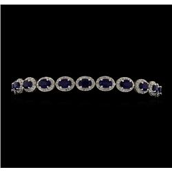 14KT White Gold 10.46ctw Sapphire and Diamond Bracelet