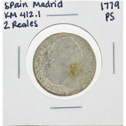 1779 PS Spain Madrid 2 Reales Silver Coin KM 412.1