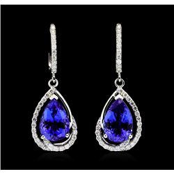 Platinum 8.17ctw Tanzanite and Diamond Earrings