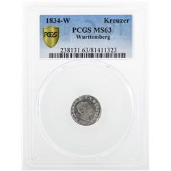 1834 Wurttemberg 1 Kreuzer Coin PCGS MS63