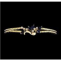 14KT Yellow Gold 0.80ctw Blue Sapphire and Diamond Bracelet