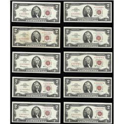 Lot of (10) 1963A $2 Legal Tender Notes