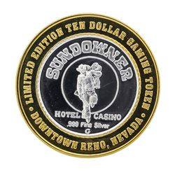 .999 Silver Sundowner Hotel and Casino $10 Casino Gaming Token Limited Edition