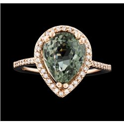 14KT Rose Gold 4.60ct Green Tourmaline and Diamond Ring