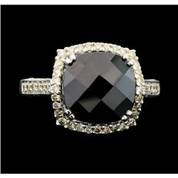 14KT White Gold 5.00ct Black Onyx and Diamond Ring
