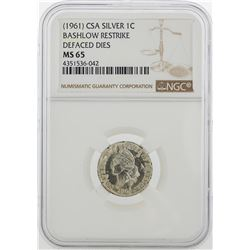 1961 CSA 1 Cent Silver Coin Bashlow Restrike NGC MS65