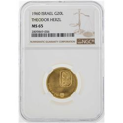 1960 Israel 20 Lirot Theodor Herzl Gold Coin NGC MS65