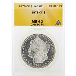 1878-CC $1Morgan Silver Dollar Coin ANACS MS62 Cameo PL