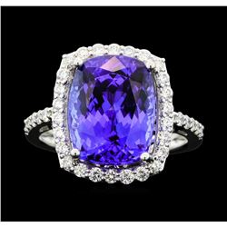Platinum 7.56ct Tanzanite and Diamond Ring