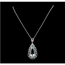 Platinum 17.80ct Aquamarine and Diamond Pendant with Chain