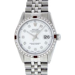 Rolex Mens Stainless Steel Ruby and Diamond Datejust Wristwatch