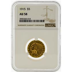 1915 $5 Indian Head Half Eagle Gold Coin NGC AU58