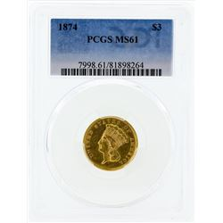 1874 $3 Indian Princess Head Gold Coin PCGS MS61