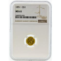 1851 $1 Liberty Head Gold Coin NGC MS61
