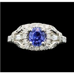 14KT White Gold 1.19ct Tanzanite and Diamond Ring