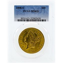 1898-S $20 Liberty Head Double Eagle Gold Coin PCGS MS62+